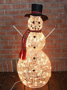 Snowman Indoor Outdoor Christmas Decoration Yard Lawn LED 38 inches
