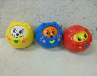 Fisher Price Roll A Round FIGURES 1 Cat 1 Dog 1 Red Boy Copyright