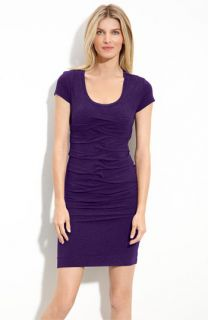 Nicole Miller Pleated Stretch Jersey Dress