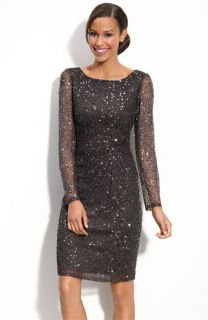 Patra Beaded Mesh Sheath Dress
