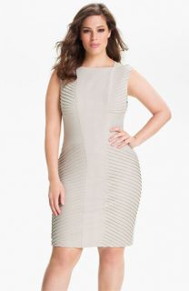 Adrianna Papell Sleeveless Tucked Sheath Dress (Plus)