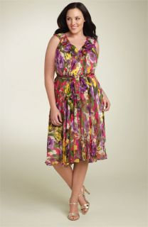 Suzi Chin for Maggy Boutique Belted Chiffon Dress (Plus)
