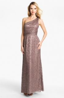 Hailey by Adrianna Papell One Shoulder Sequin Lace Gown