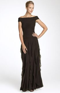 Tadashi Off Shoulder Tiered Chiffon Gown