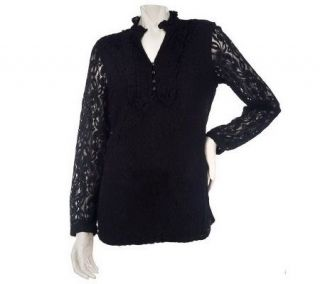 Isaac Mizrahi Live Long Sleeve Split Mock Neck Lace Blouse —