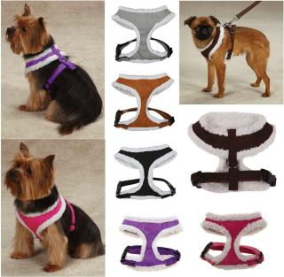 Cozy Sherpa Harness Soft Faux Suede Dog Comfort Walking