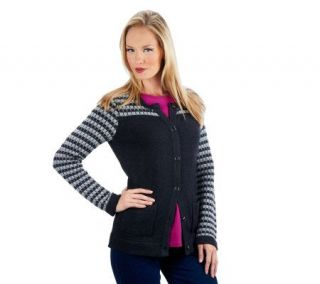 Isaac Mizrahi Live Placed Multi  Color Crochet Cardigan   A227316