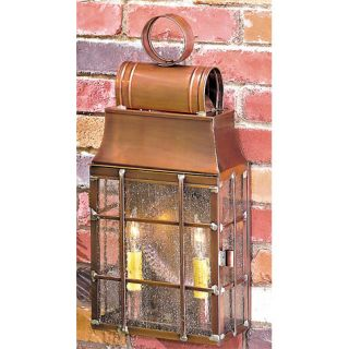 Exterior Wall Lantern Antique Copper Brass Rustic Colonial Farm Light