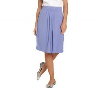 Isaac Mizrahi Live Center Pleated Knit Pull on Skirt   A201526