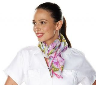 Isaac Mizrahi Live Silk Floral 35 x 35 Square Scarf —
