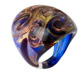 Oval Murano Glass Swirl Ring with 18K Gold Foil   J306143