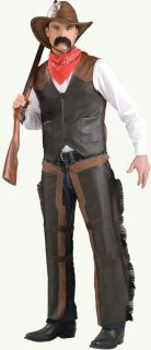 Mens Cowboy Western Chaps Cow Boy Adult Brown Leather Look Costume