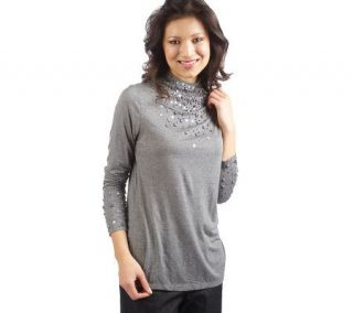 Isaac Mizrahi Live Jewel Encrusted Long Sleeves & Mock Turtleneck