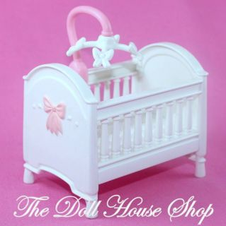 Pink White Nursery Baby Doll Crib w mobile Fisher Price Loving Family