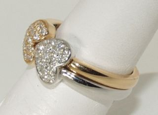 Crivelli 18 KT White Yellow Gold and Diamond Heart Ring