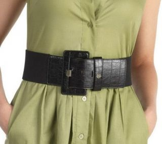 Isaac Mizrahi Live 3 Wide Waist Cinch Stretch Belt   A203883