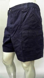 Covington Mens 42 Casual Cargo Shorts Navy Solid Designer Fashion