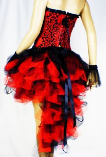 Burlesque Moulin Rouge Red Black Show Costume Dress Up TuTU Carnival