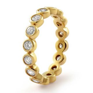 Round Bridal Eternity Cubic Zirconia Wedding Band Gold Plated Ring