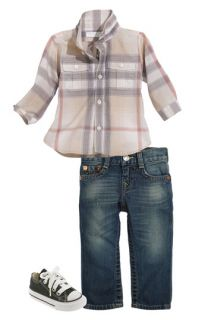 Burberry Shirt & True Religion Brand Jeans Straight Leg Jeans (Infant)