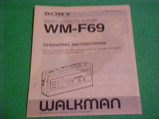 SONY WALKMAN RADIO CASSETTE PLAYER WM F69 OPERATING INSTRUCTIONS