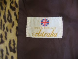 RARE Vintage 70s Astraka Leopard Print Faux Fur Swing Jacket Coat UK