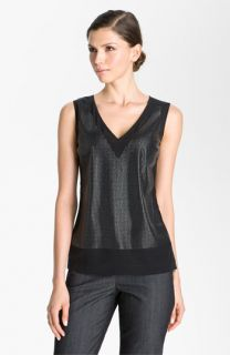 St. John Collection Sequin Front V Neck Top