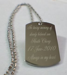 Memorial Dog Tag Necklace Custom Personalize