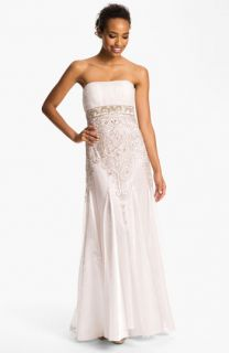 Sue Wong Bead Detail Strapless Chiffon & Satin Gown