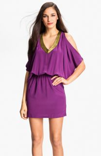 Nicole Miller Split Sleeve Silk Blouson Dress