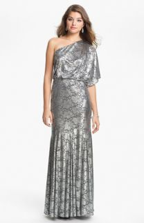 Adrianna Papell One Shoulder Metallic Blouson Gown