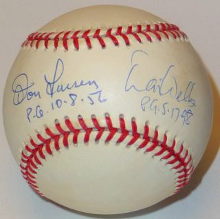 David Wells Don Larsen Dual Signed Perfect Game NY Yankee Pitchers