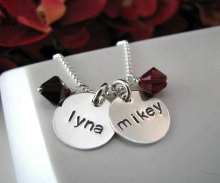 Sterling Silver Stamped Personalized 3 Charms Baby Kids Name Mom