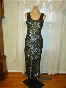 by DEBRA Sequin,Beaded Stretch Gown,Pageant Drag Queen Formal Dress L