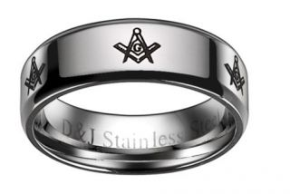 Freemason Masonic Ring Stainless Steel Size 9 13 STR12