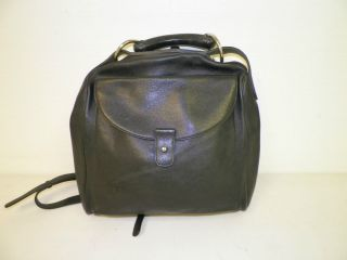 Womans Authentic Delvaux Black Leather Backpack Purse Handmade