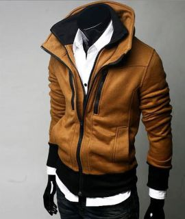 Stylish Slim Fit Zip Up Jacket Fashion Black Dark Gray Camel