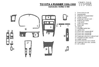 Toyota 4Runner 96 98 Interior Dashboard Dash Wood Trim Kit Parts Free