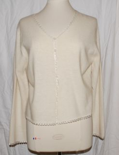 Deane White Cream Off White Ivory Angora Cardigan Sweater Large