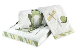 LEAPFROG FUN FROG EMBROIDERED ANIMAL KIDS 3 PIECE BATH TOWEL SET