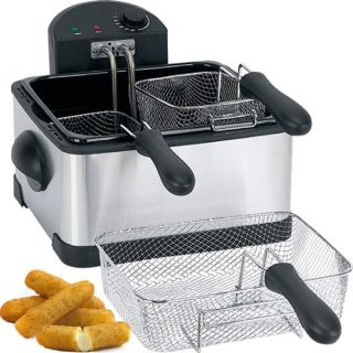 Basket Electric Deep Fryer Stainless Steel Portable Cooker w 3 Baskets