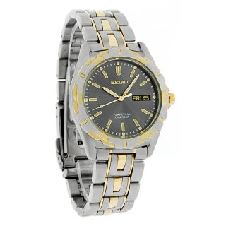 Seiko Perpetual Calendar Mens Charcoal Day Date Dial Two Tone Watch
