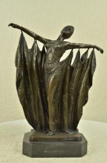 Vintage Large Art Deco Dancer Dimitri Chiparus Bronze Sculpture Signed