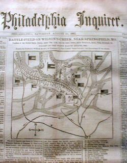 Inquirer Civil War Newspaper Map Battle Wilsons Creek Missouri
