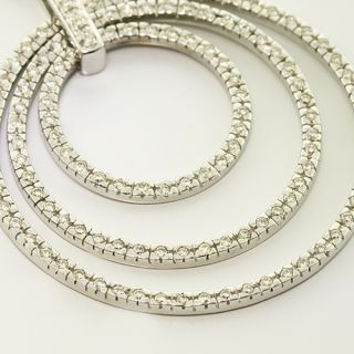 Solid 14K White Gold Diamond Circle Vintage Pendant 15 Necklace