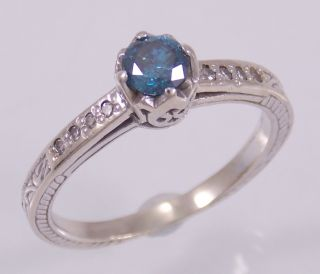 Gorgeous 18K White Gold Blue Diamond Ring Size 6 75 25cttw