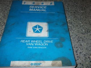 1988 Dodge RAM Van Wagon rwd Service Shop Repair Manual Factory Book