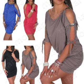 Womens Cut Out Design Open Sleeve Stretch Tunic Mini Dance Ball