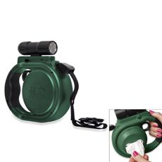 NEW Animal Planet Pet DOG LEASH Retractable +WASTE BAG HOLDER+Led