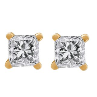 50 Ct Princess Cut 14k Yellow Gold Diamond Stud Earrings
